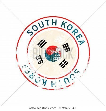 South Korea Sign, Vintage Grunge Imprint With Flag On White