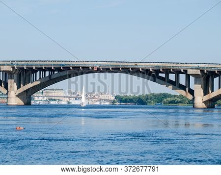 Part Of The Metro-automobile Arch Concrete Bridge Over The River - One Span Between Two Bridge Beari