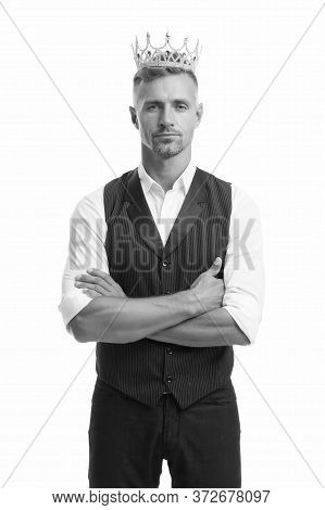 Ambitious And Successful. Big Boss Isolated On White. Handsome Man Wear Crown. Successful Businessma