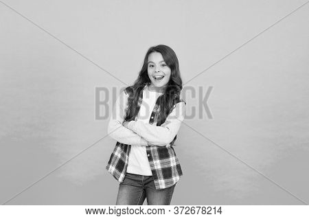 Childhood Happiness. Following Her Personal Style. Stylish Teen Girl Turquoise Background. Pretty Te