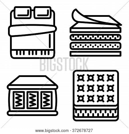 Mattress Icons Set. Outline Set Of Mattress Vector Icons For Web Design Isolated On White Background
