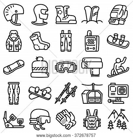Snowboarding Equipment Icons Set. Outline Set Of Snowboarding Equipment Vector Icons For Web Design
