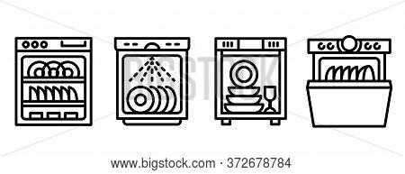 Dishwasher Icons Set. Outline Set Of Dishwasher Vector Icons For Web Design Isolated On White Backgr