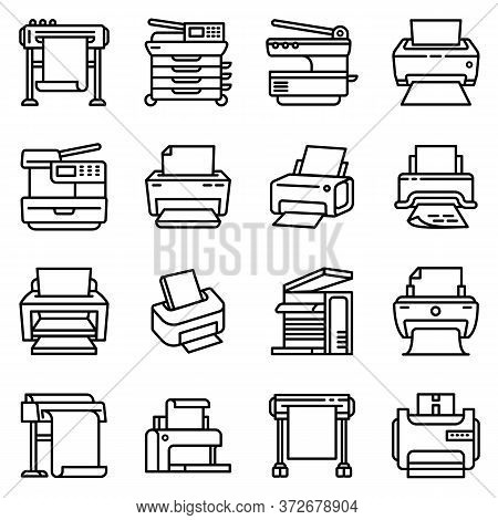 Printer Icons Set. Outline Set Of Printer Vector Icons For Web Design Isolated On White Background