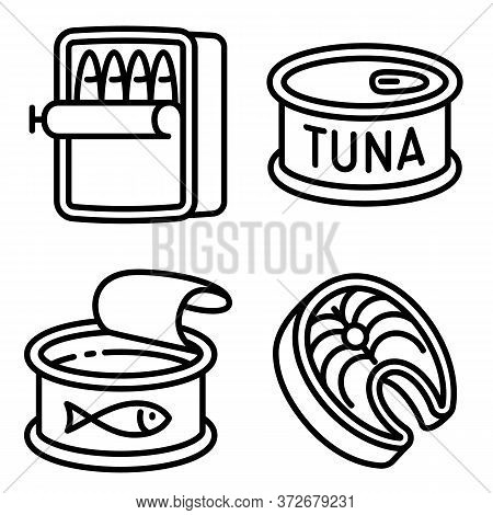 Tuna Icons Set. Outline Set Of Tuna Vector Icons For Web Design Isolated On White Background
