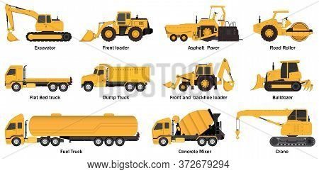 Set Of Construct Machines.heavy Machinery Vehicles, Excavator, Dump Truck, Crane, Concrete Mixer, Bu