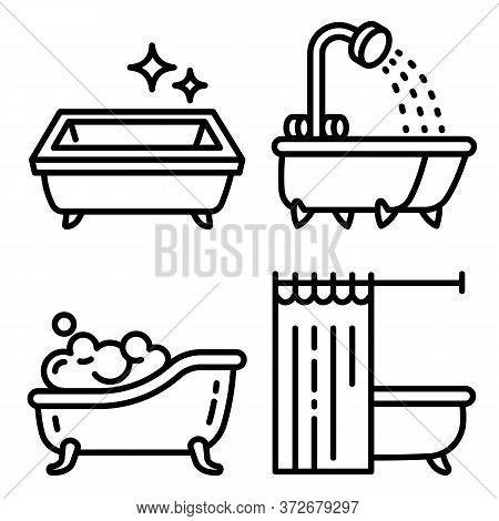 Bathtub Icons Set. Outline Set Of Bathtub Vector Icons For Web Design Isolated On White Background