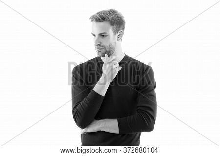 His Style Is Emulated By Many. Looking Trendy. Facial Care. Handsome Man Isolated On White. Unshaven