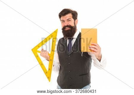Teacher Who Can. Maths Teacher Isolated On White. Happy Teacher Hold Triangle And Book. Geometry Les