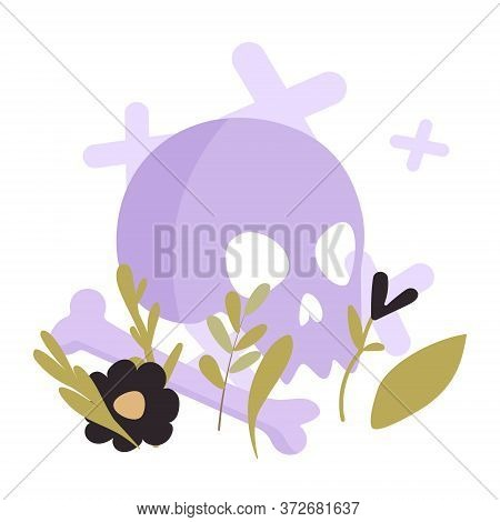 Vector Greeting Card With Skull And Flowers In Flat Style. Greeting Card With A Skull On A White Bac