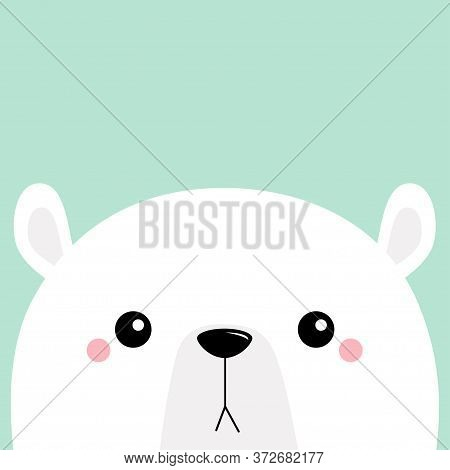 White Polar Bear Cub Sad Face. Merry Christmas. Happy New Year. Cute Cartoon Baby Character. Arctic