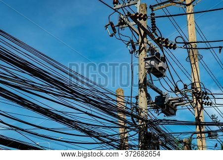 Three-phase Electric Power For Transfer Power By Electrical Grids. Electric Power For Support Manufa