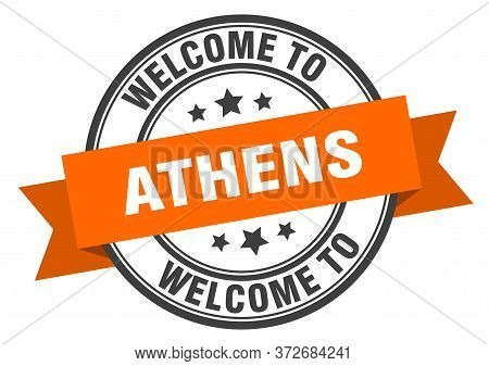Athens Stamp. Welcome To Athens Orange Sign