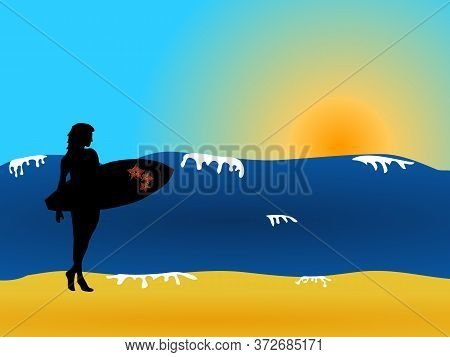 Hand Drawn Female Surfer Black Silhouette Holding A Decorated Surfboard With Red Flowers Over Waves