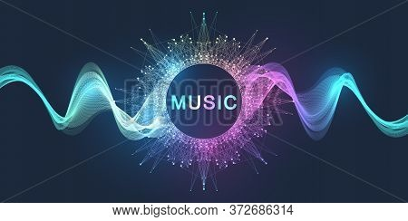 Abstract Motion Sound Wave Lines And Dots Dynamic Vector Background. Spiral Pulse Sound Wave Rhythm.