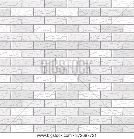 Realistic Vector Brick Wall Seamless Pattern. Flat Wall Texture. Beautiful White Textured Brick Back
