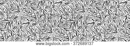 Hand Drawn Seamless Pattern. Vector Organic Texture, Endless Background Painted By Ink. Black And Wh