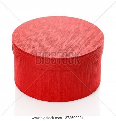 Elegant Round Red Gift Box On A White Background.