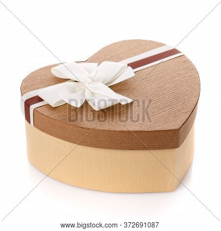 Heart Shaped Valentines Day Gift Box On White Background.