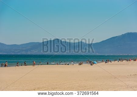 Canet En Roussillon, France: June 21, 2020: Sunny Day In The Tourist Town Of Canet En Roussillion In