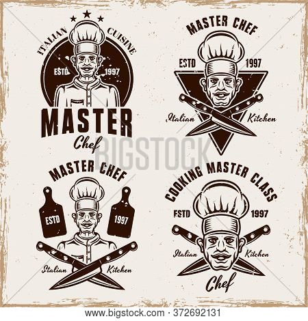 Master Chef Set Of Vector Cooking Emblems, Badges, Labels Or Logos In Vintage Style With Removable T