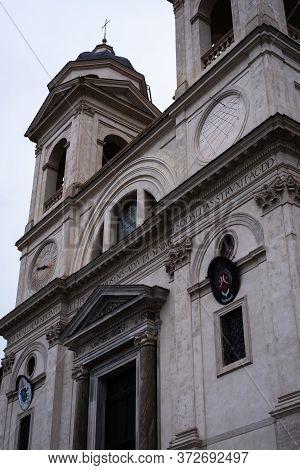 Facade Of The Trinita Dei Monti Church And Convent In Rome, Italy