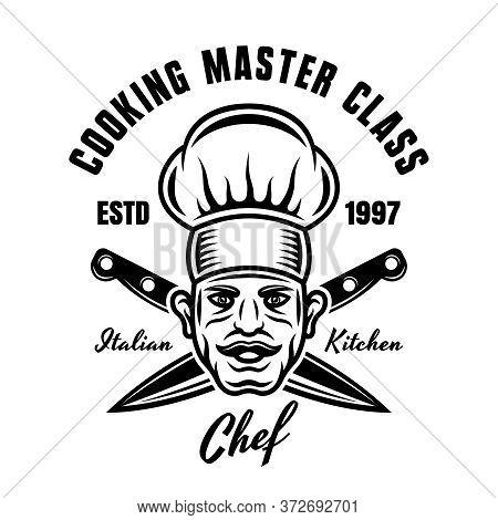 Master Chef Vector Cooking Emblem, Badge, Label Or Logo. Cook And Two Crossed Kitchen Knives Vintage