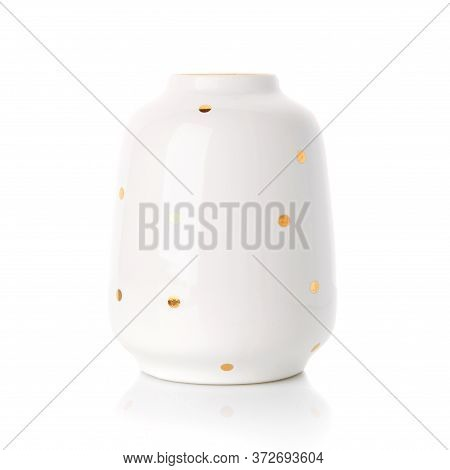 Beautiful Vase In The Style Of Provence. White Ceramic Vase With Golden Dots On A White Background.