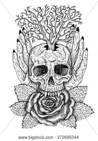 Black And White Wiccan Emblem With Skull, Human Hands, Rose Flower And Tree. Esoteric, Occult And Go