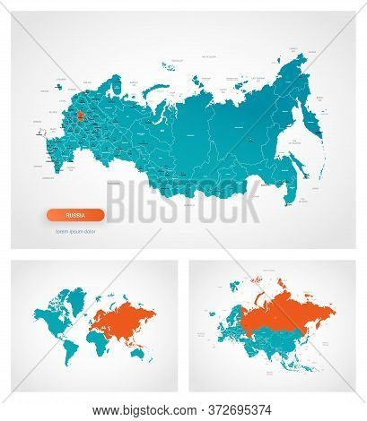 Editable Template Of Map Of Russia With Marks. Russia On World Map, On Europe And Asia Map.