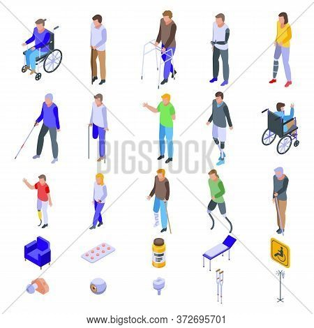 Handicapped Icons Set. Isometric Set Of Handicapped Vector Icons For Web Design Isolated On White Ba
