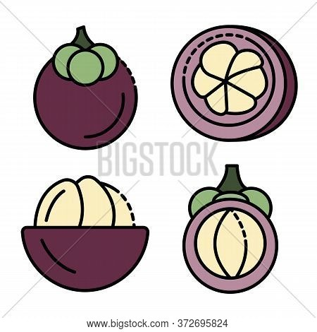 Mangosteen Icons Set. Outline Set Of Mangosteen Vector Icons Thin Line Color Flat On White