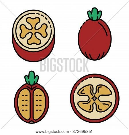 Feijoa Icons Set. Outline Set Of Feijoa Vector Icons Thin Line Color Flat On White