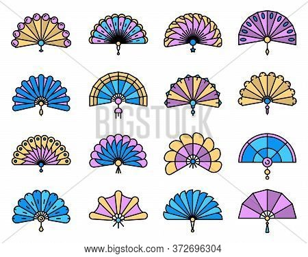 Handheld Fan Icons Set. Outline Set Of Handheld Fan Vector Icons Thin Line Color Flat On White