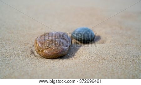 Stones On The Beach Of The Baltic Sea Near Rewal In Poland