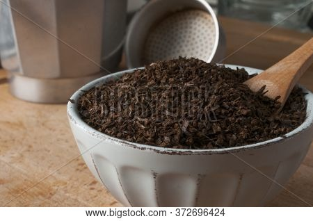 Bowl Of Roasted And Ground Barley For Preparation With A Coffee Maker. Barley Coffee Is Very Popular