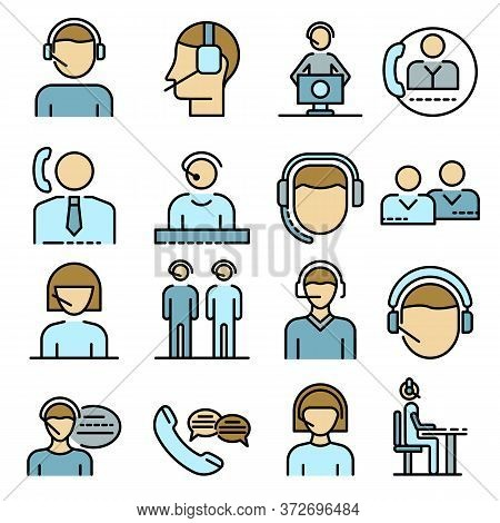 Call Center Employees Icons Set. Outline Set Of Call Center Employees Vector Icons Thin Line Color F