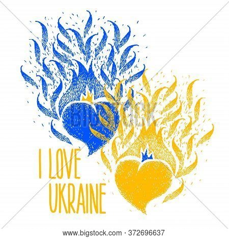 I Love Ukraine. Two Hearts Of The Yellow Blue Color Of The Flag Of Ukraine With Hand Made Lettering.
