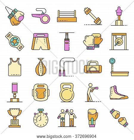 Boxing Icons Set. Outline Set Of Boxing Vector Icons Thin Line Color Flat On White