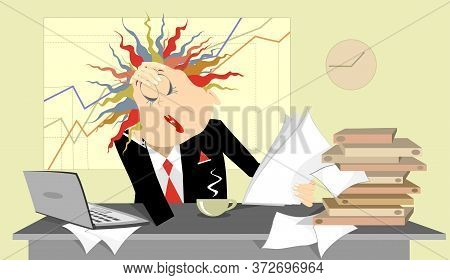 Tired Business Woman In The Office Illustration. Tired And Pensive Business Woman Sits Near The Tabl