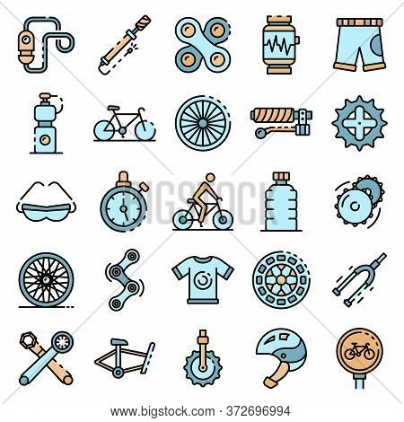 Cycling Equipment Icons Set. Outline Set Of Cycling Equipment Vector Icons Thin Line Color Flat On W
