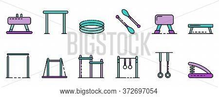 Gymnastics Equipment Icons Set. Outline Set Of Gymnastics Equipment Vector Icons Thin Line Color Fla