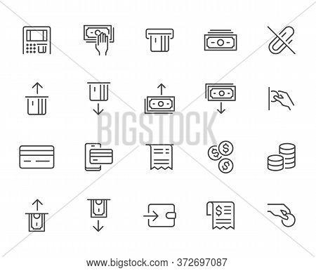 Atm Machine Line Icon Set. Withdraw Money, Deposit, Hand Taking Cash, Receipt Minimal Vector Illustr