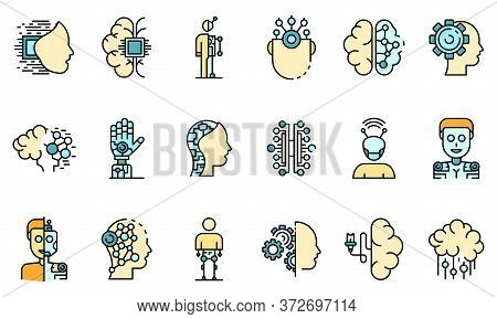 Humanoid Icons Set. Outline Set Of Humanoid Vector Icons Thin Line Color Flat On White
