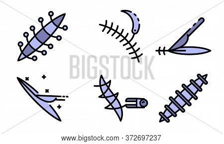 Suture Icons Set. Outline Set Of Suture Vector Icons Thin Line Color Flat On White