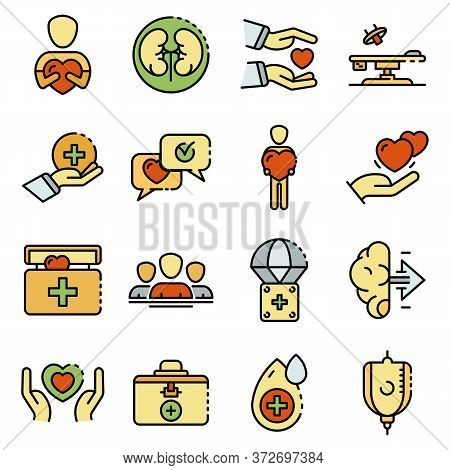Donate Organs Icons Set. Outline Set Of Donate Organs Vector Icons Thin Line Color Flat On White
