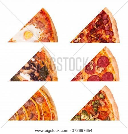 Italian Pizza Slices Set, Isolated On White Background. Tasty Pizza Like With Eggs And Sausages, Spi