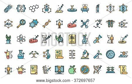Genetic Engineering Icons Set. Outline Set Of Genetic Engineering Vector Icons Thin Line Color Flat