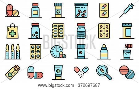 Antibiotic Icons Set. Outline Set Of Antibiotic Vector Icons Thin Line Color Flat On White
