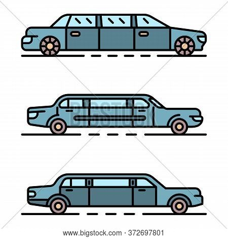 Limousine Icons Set. Outline Set Of Limousine Vector Icons Thin Line Color Flat On White